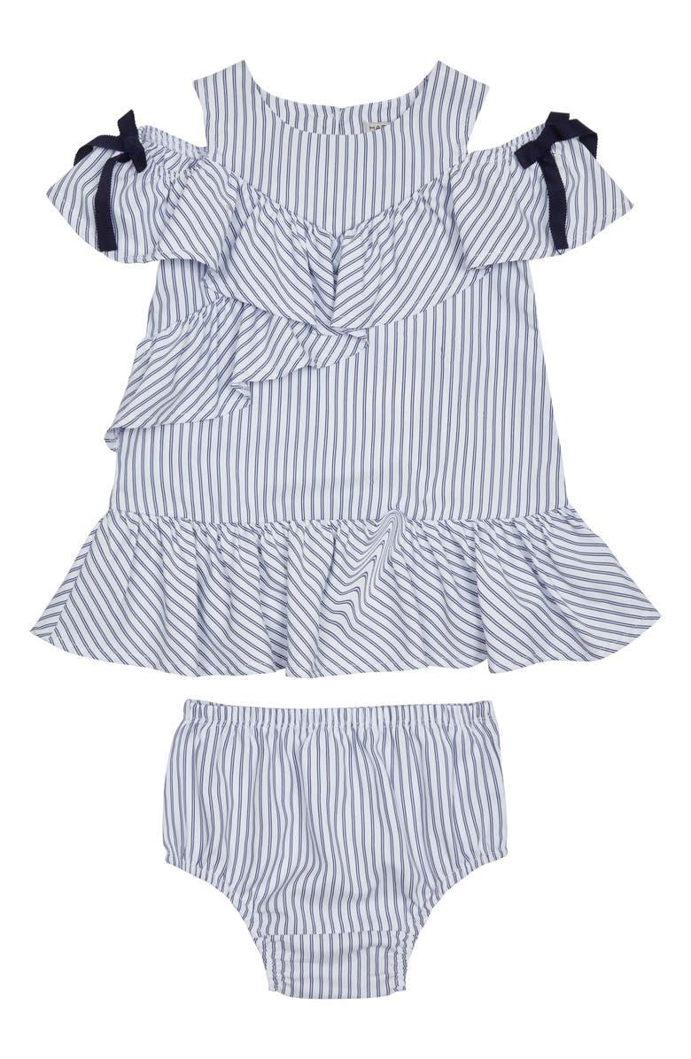 HABITUAL Stripe Ruffle Dress, Main, color, WHITE MULTI