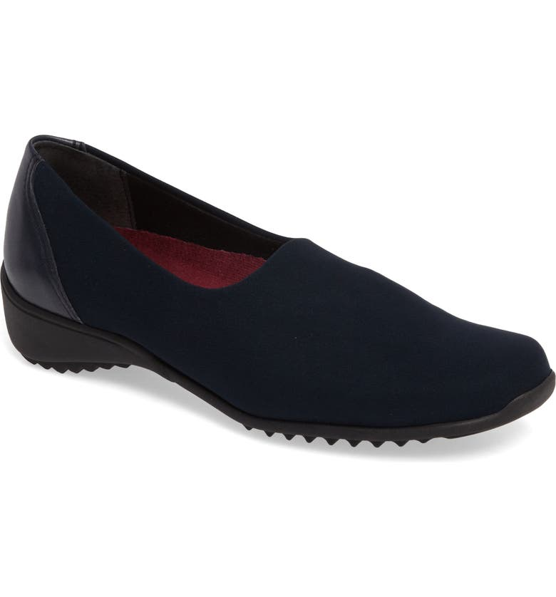 MUNRO 'Traveler' Slip-On, Main, color, NAVY STRETCH FABRIC