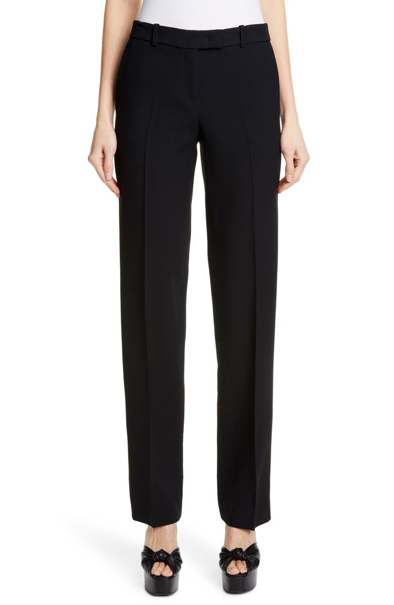 MICHAEL KORS COLLECTION Michael Kors Straight Leg Trousers, Main, color, BLACK
