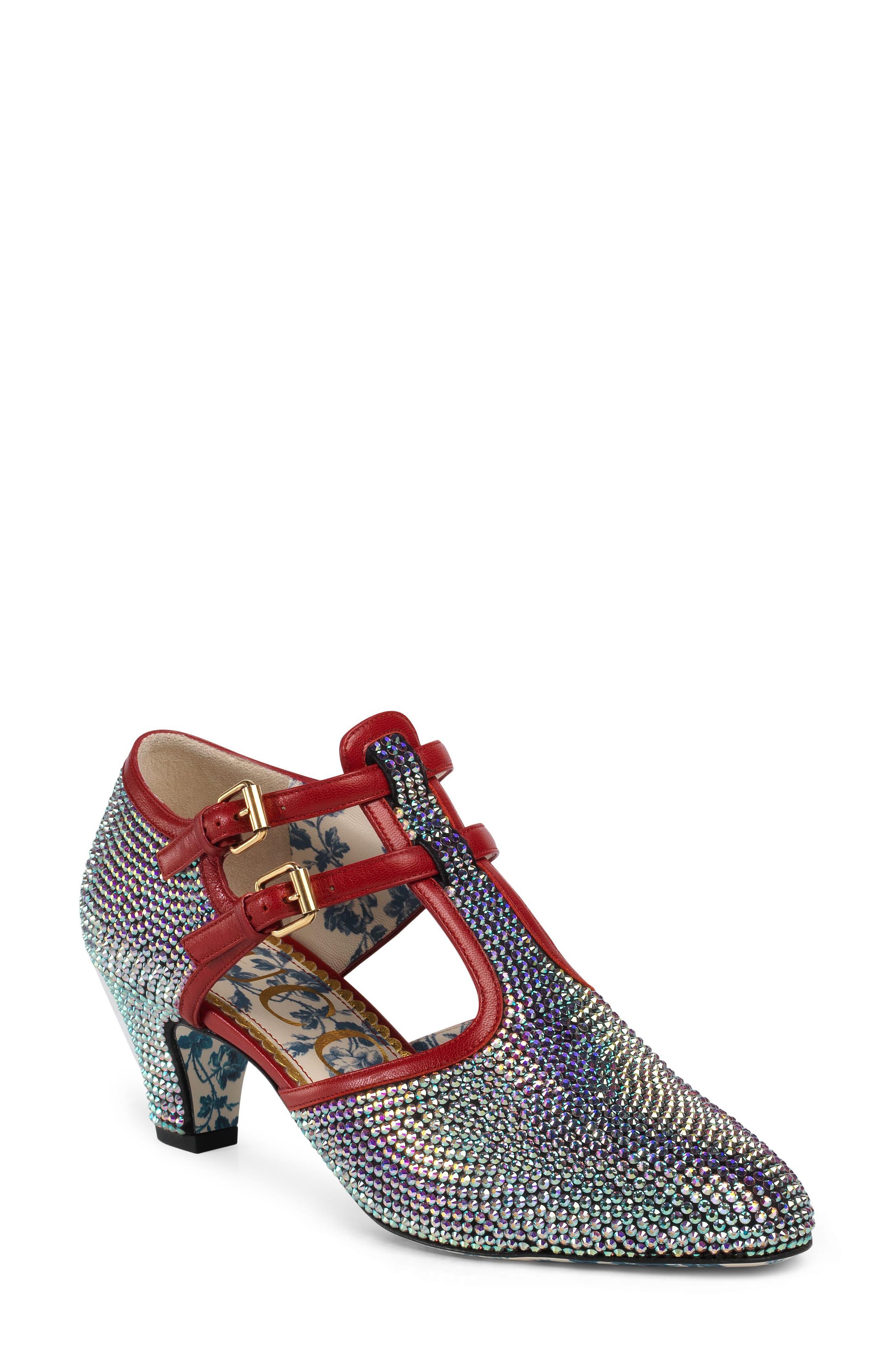 Gucci Mila Crystal Embellished T-Strap Pump, Metallic
