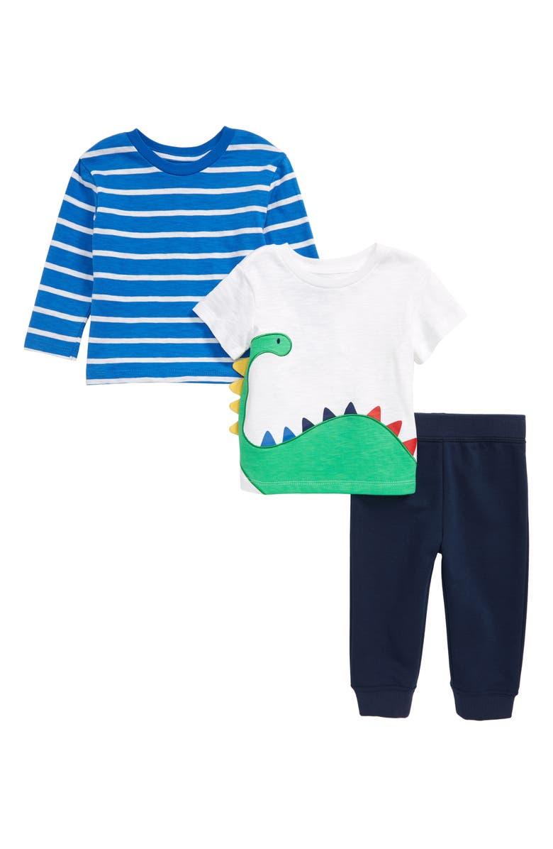 LITTLE ME Dino Embroidered T-Shirt, Long Sleeve Shirt & Sweatpants Set, Main, color, BLUE
