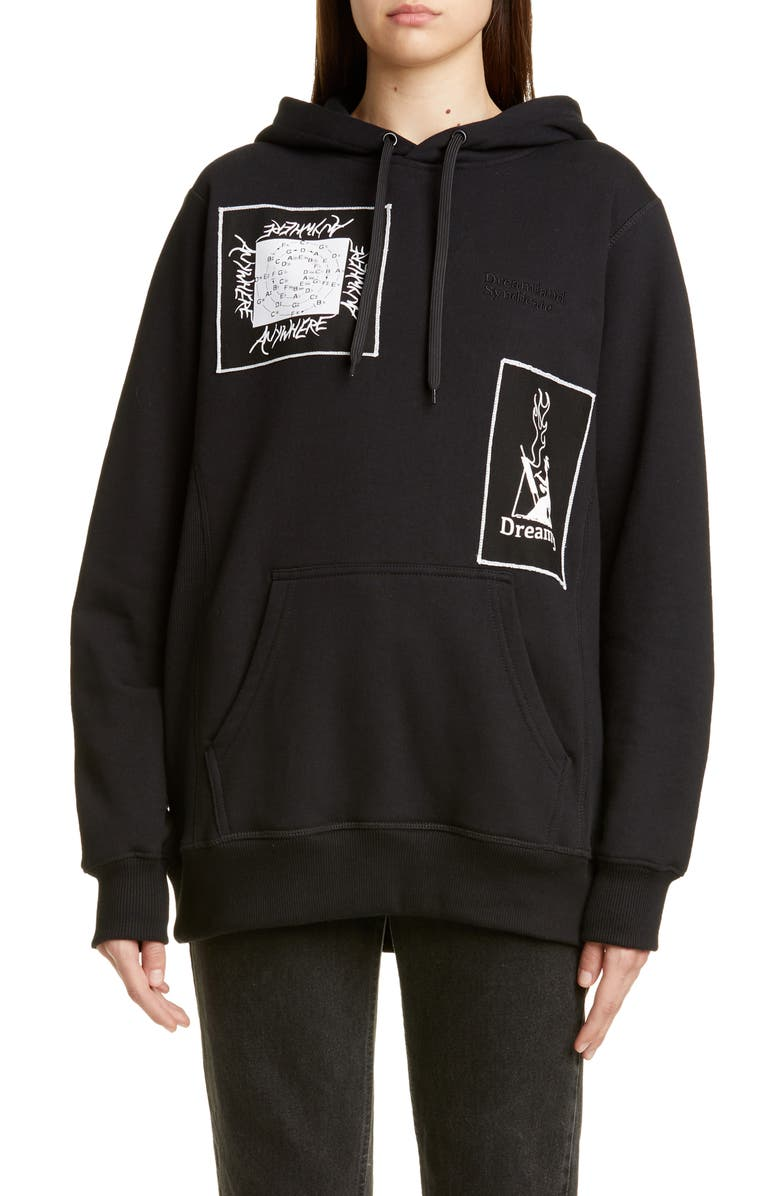 DREAMLAND SYNDICATE Graphic Patch Oversize Hoodie, Main, color, BLACK