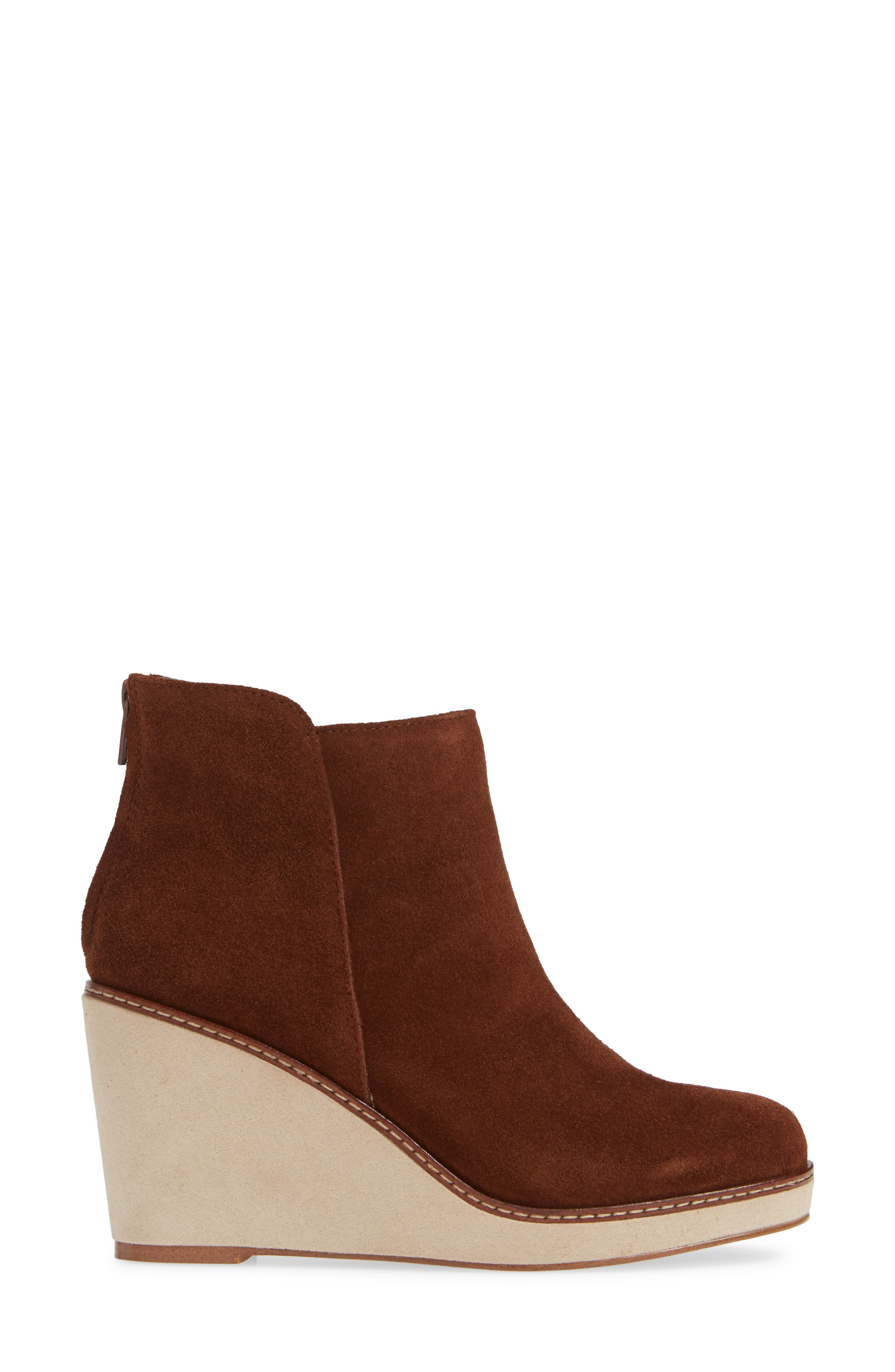 ,                             Higgins Wedge Bootie,                             Alternate thumbnail 3, color,                             WALNUT SUEDE