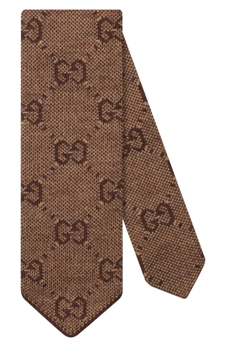 GUCCI GG Logo Wool Tie, Main, color, BEIGE
