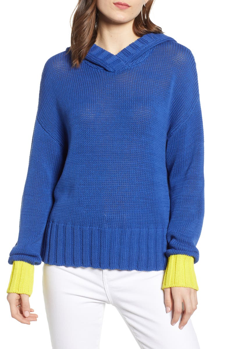 TREASURE & BOND Contrast Cuff Hooded Sweater, Main, color, 401