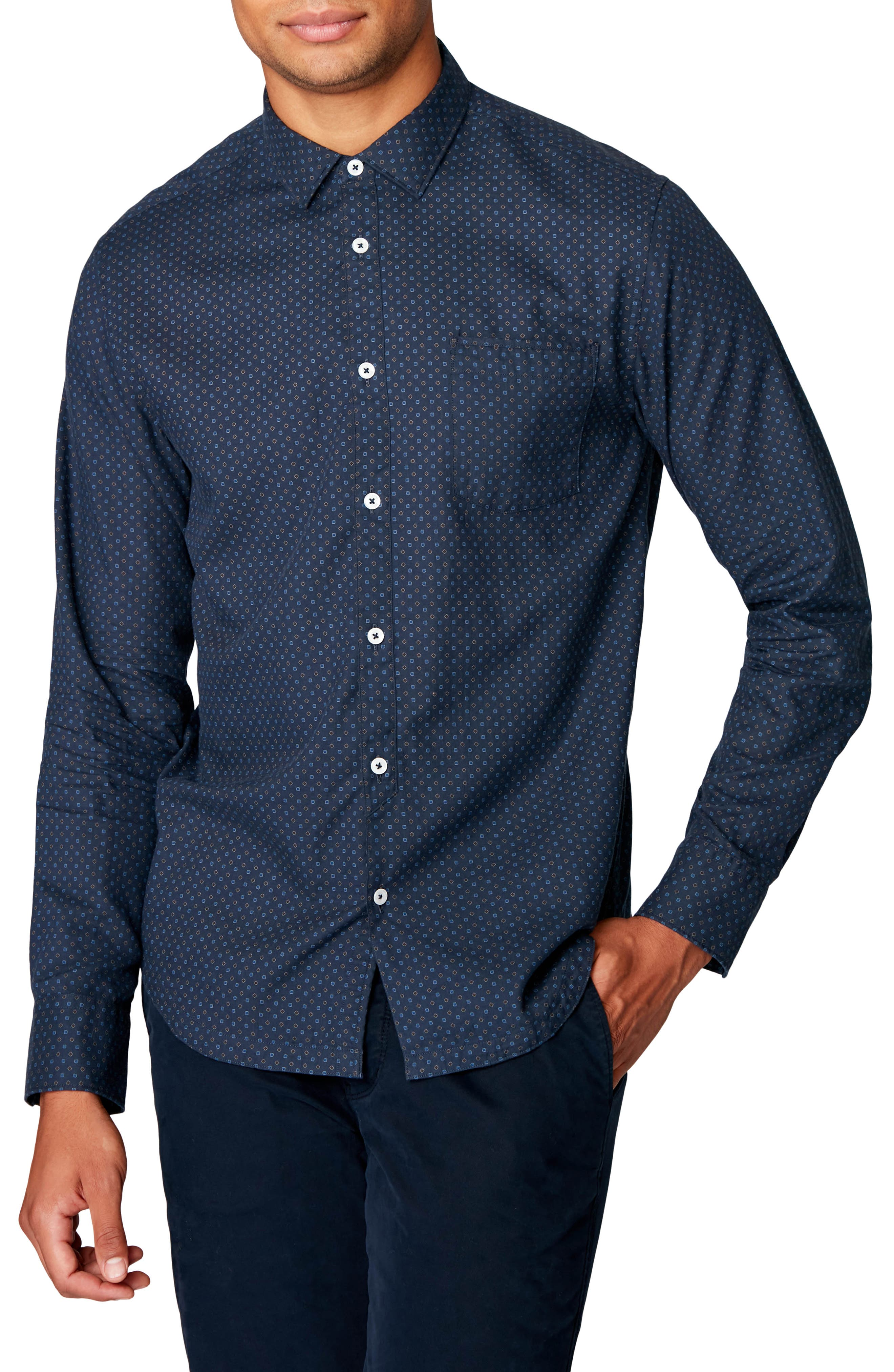 Crisp cotton patterned in a distinctive pinpoint print brings both sharp looks and casual appeal to a shirt tailored in a neat slim fit. Style Name: Good Man Brand On Point Slim Fit Button-Up Shirt. Style Number: 5906792. Available in stores.
