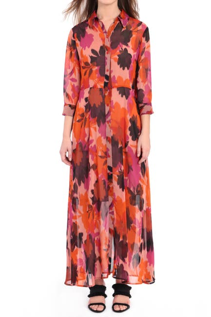 Image of Donna Morgan Printed Maxi Shirt Dress