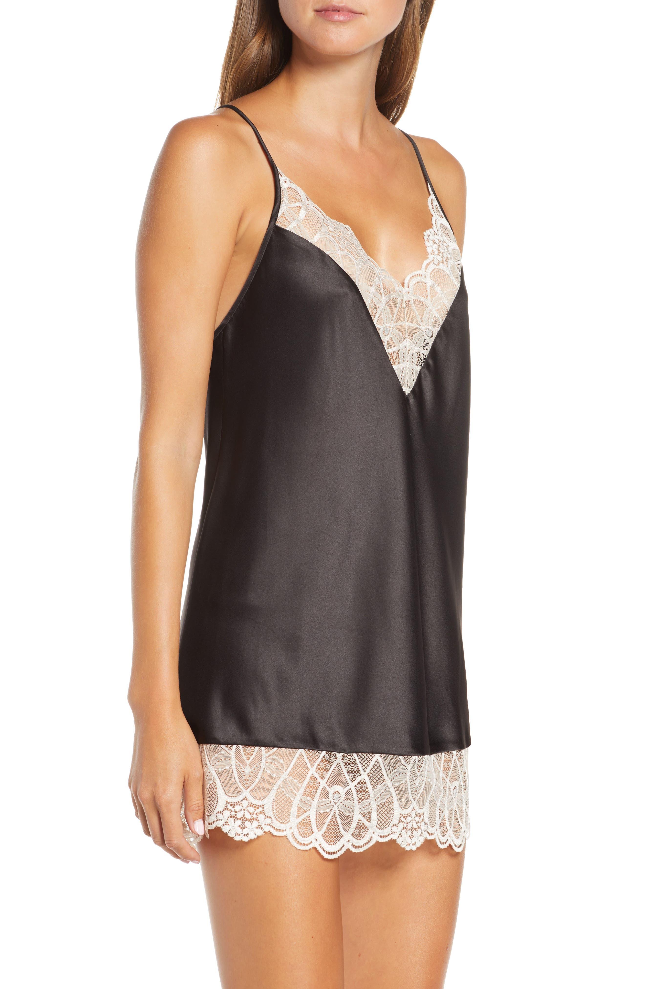 Flora Nikrooz Sleepwear Gabby Lace Trim Satin Chemise