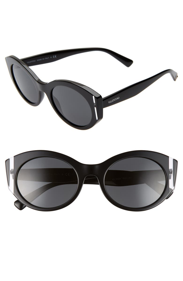 VALENTINO 53mm Cat Eye Sunglasses, Main, color, 001