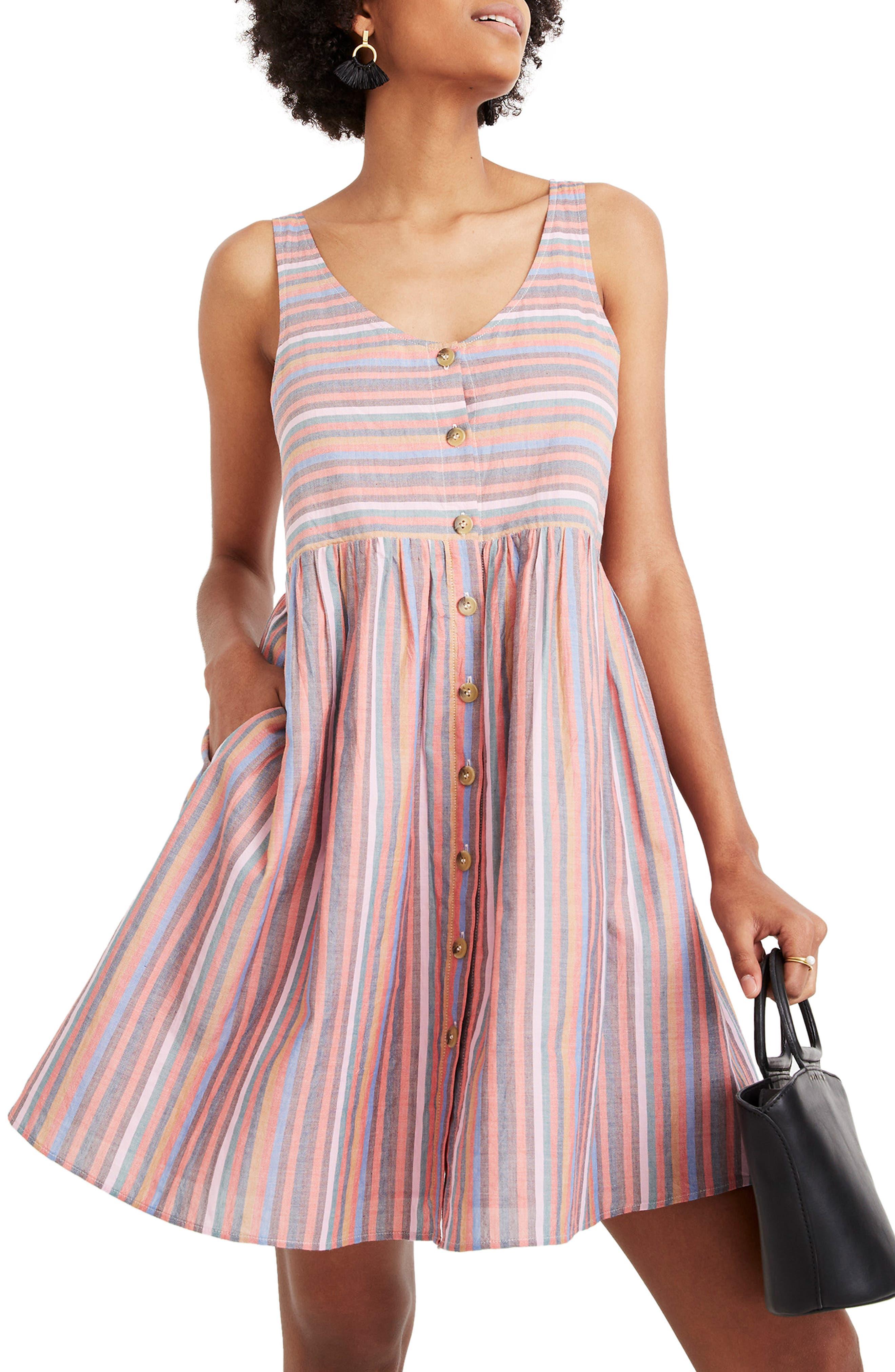 Madewell Rainbow Stripe Tank Dress, Red
