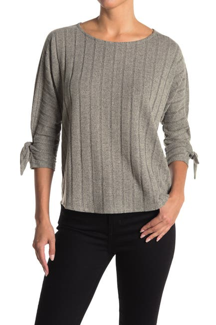 Image of Bobeau Ribbed Knit Tie Sleeve Top