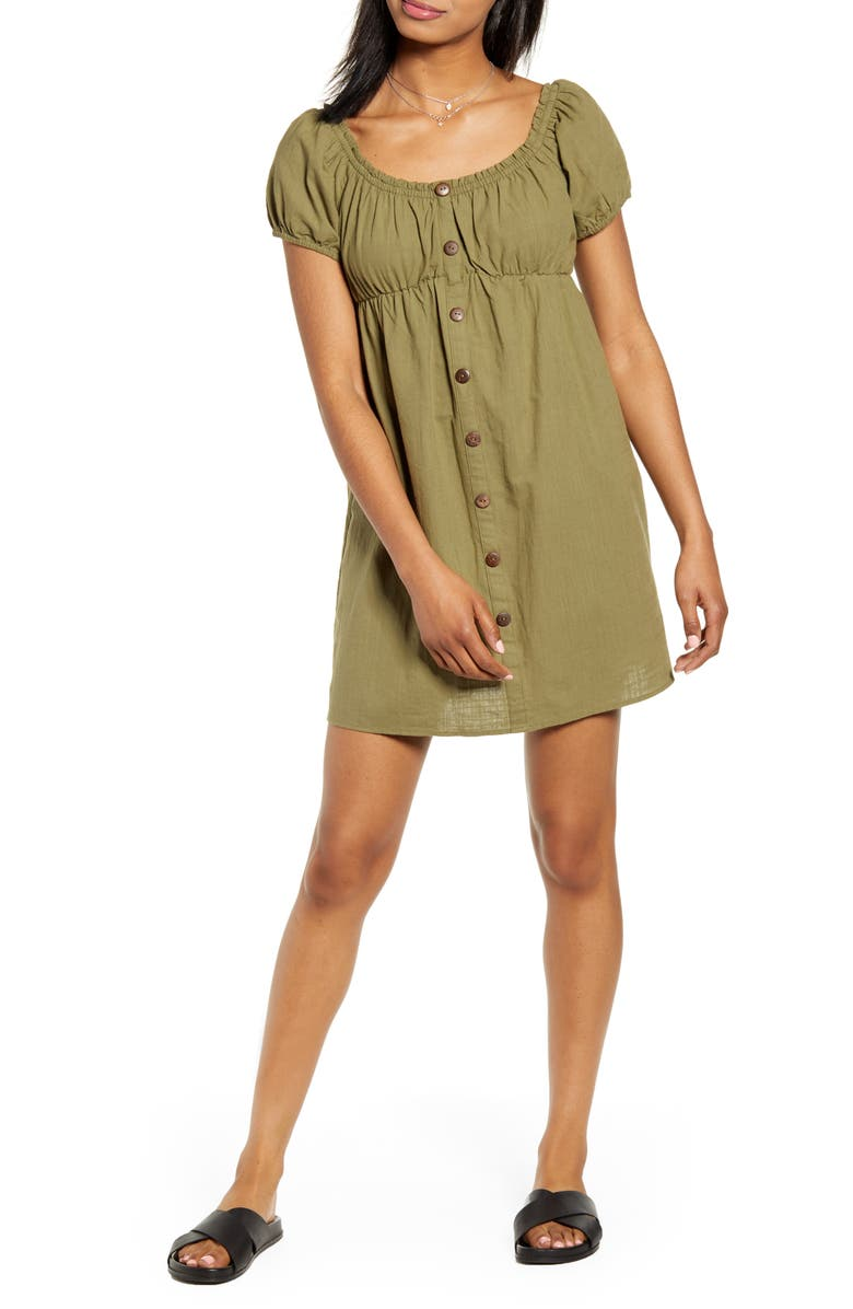MINKPINK Puff Sleeve Minidress, Main, color, KHAKI