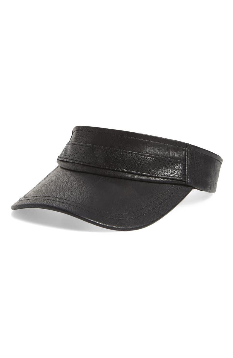 SWEAT ACTIVE Faux Leather Tennis Visor, Main, color, BLACK