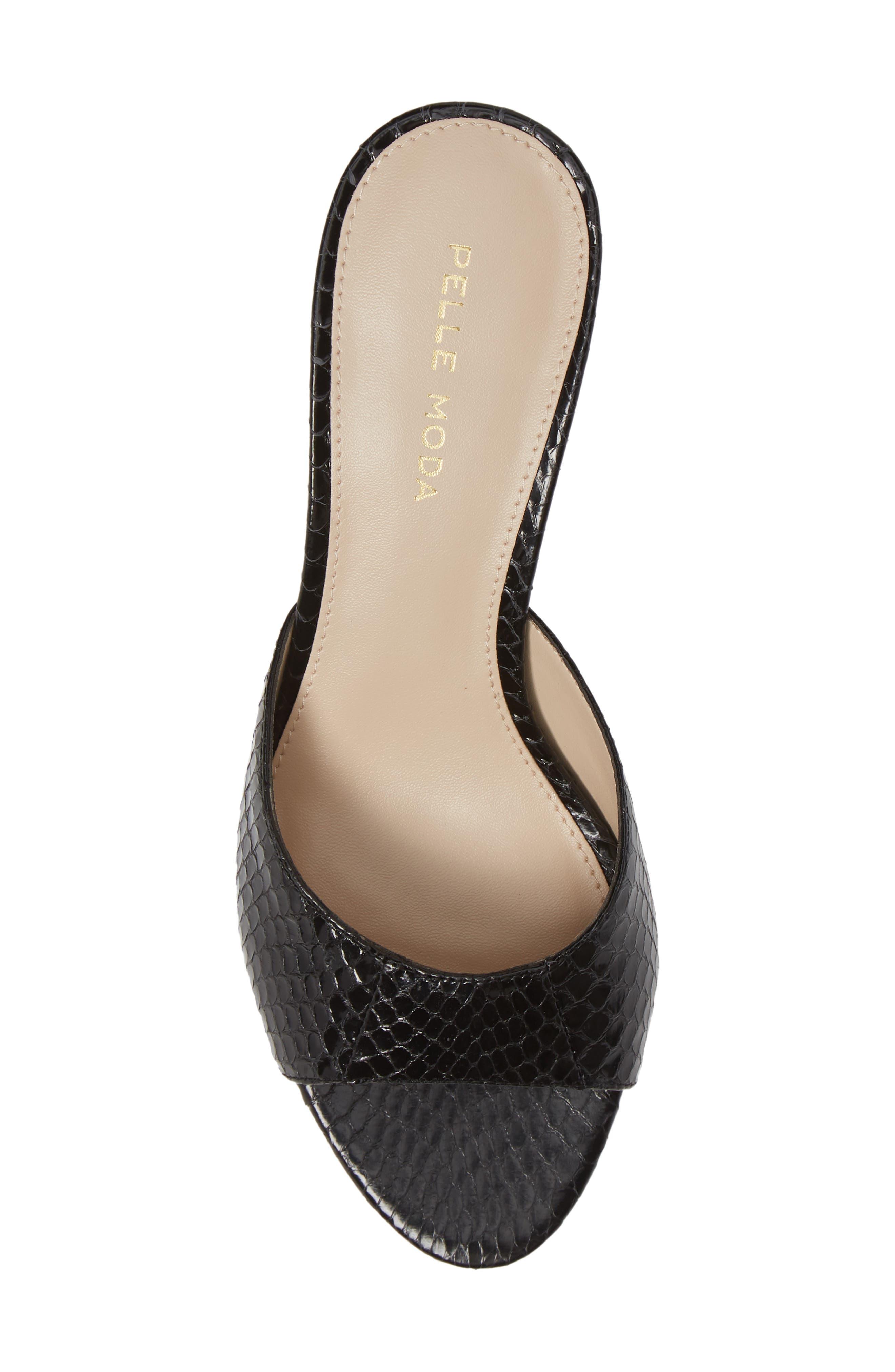 ,                             Bex Kitten Heel Slide Sandal,                             Alternate thumbnail 5, color,                             BLACK PRINT LEATHER