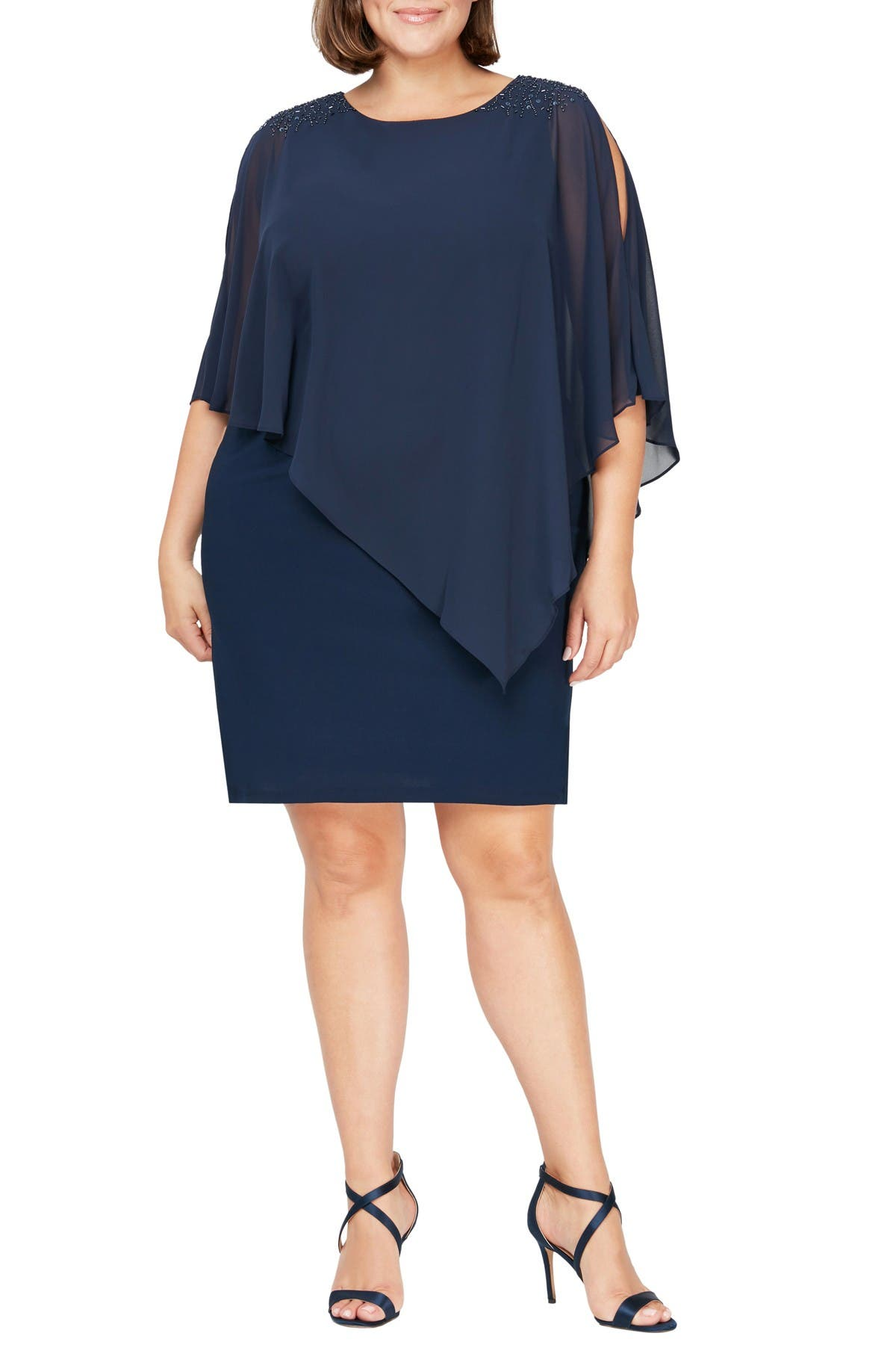 Image of SLNY Beaded Popover Dress