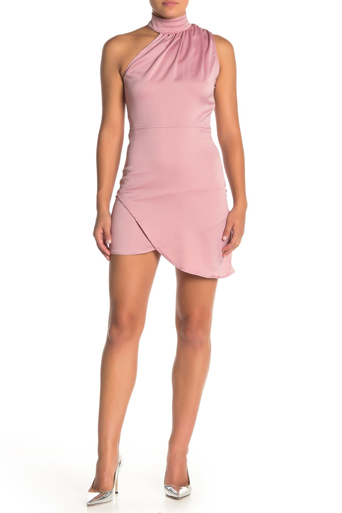 Image of KENDALL AND KYLIE Mock Neck Asymmetrical Satin Mini Dress