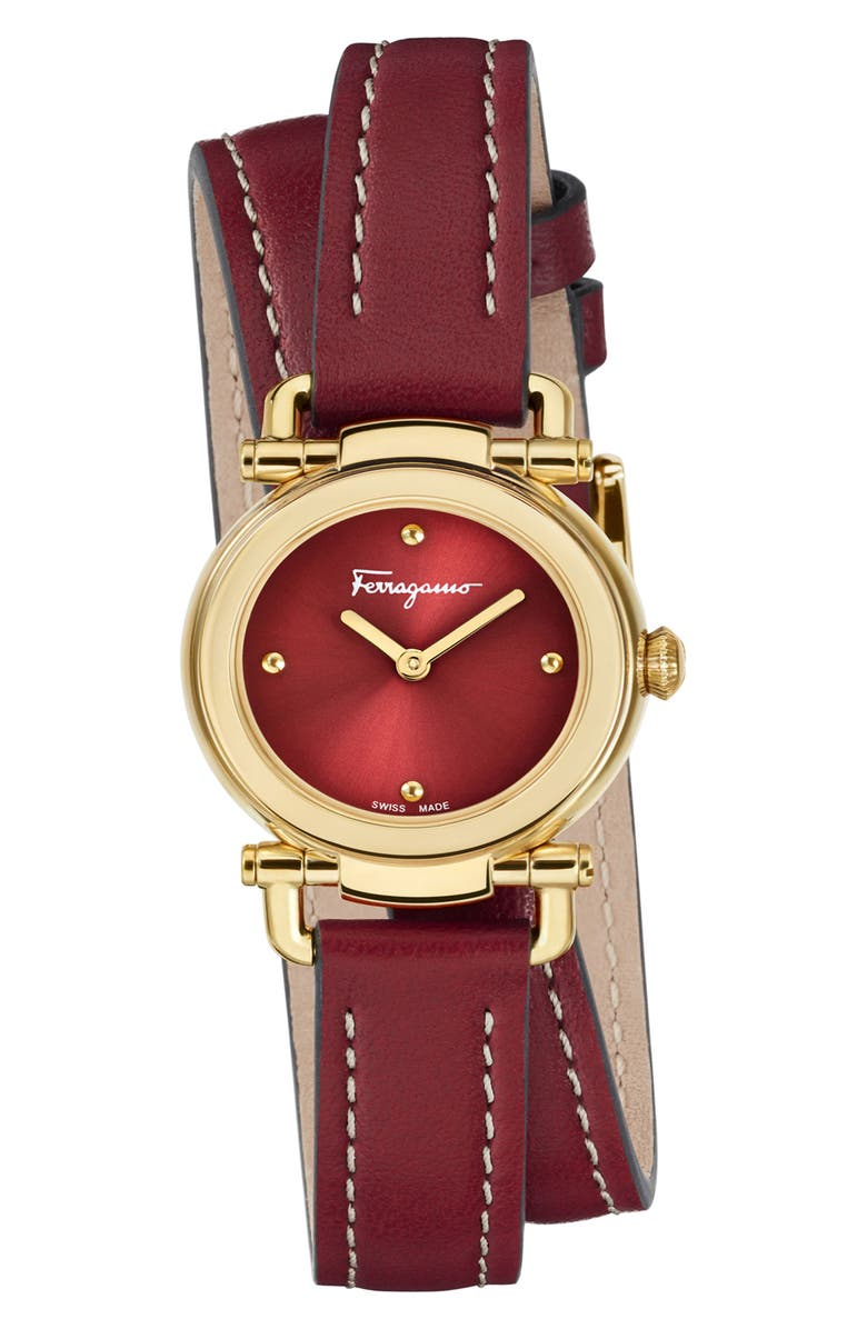 SALVATORE FERRAGAMO Gancino Leather Strap Watch, 26mm, Main, color, RED/ GOLD