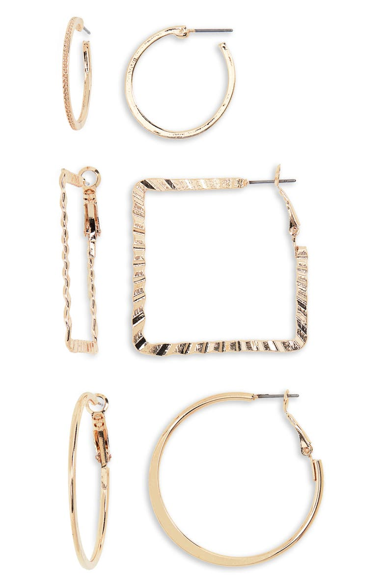 BP 3 Pack Textured Geo Hoop Earrings
