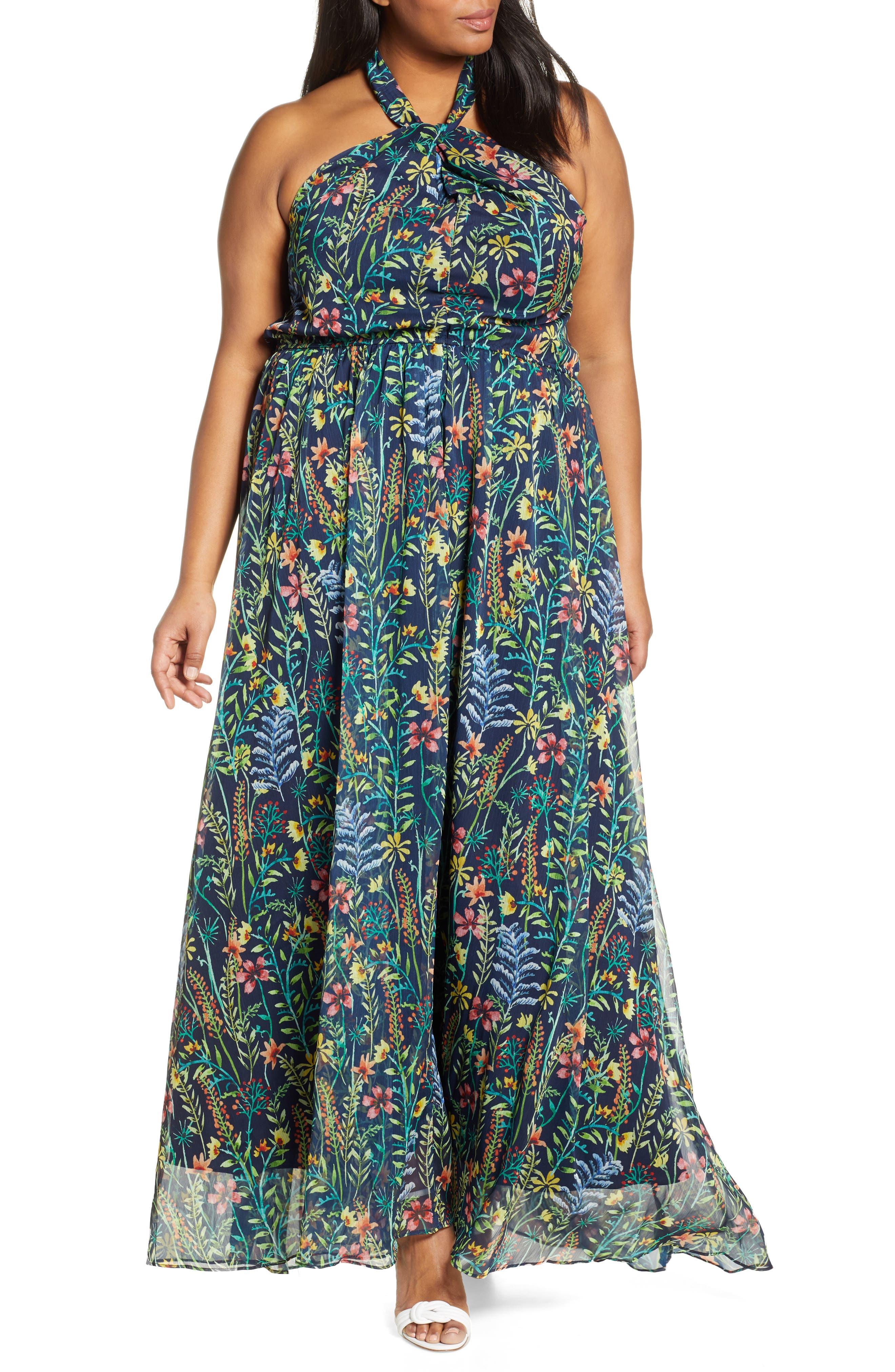 Jason Wu x ELOQUII Floral Print Halter Maxi Dress, Main, color, SO LITTLE THYME - NAVY GROUND