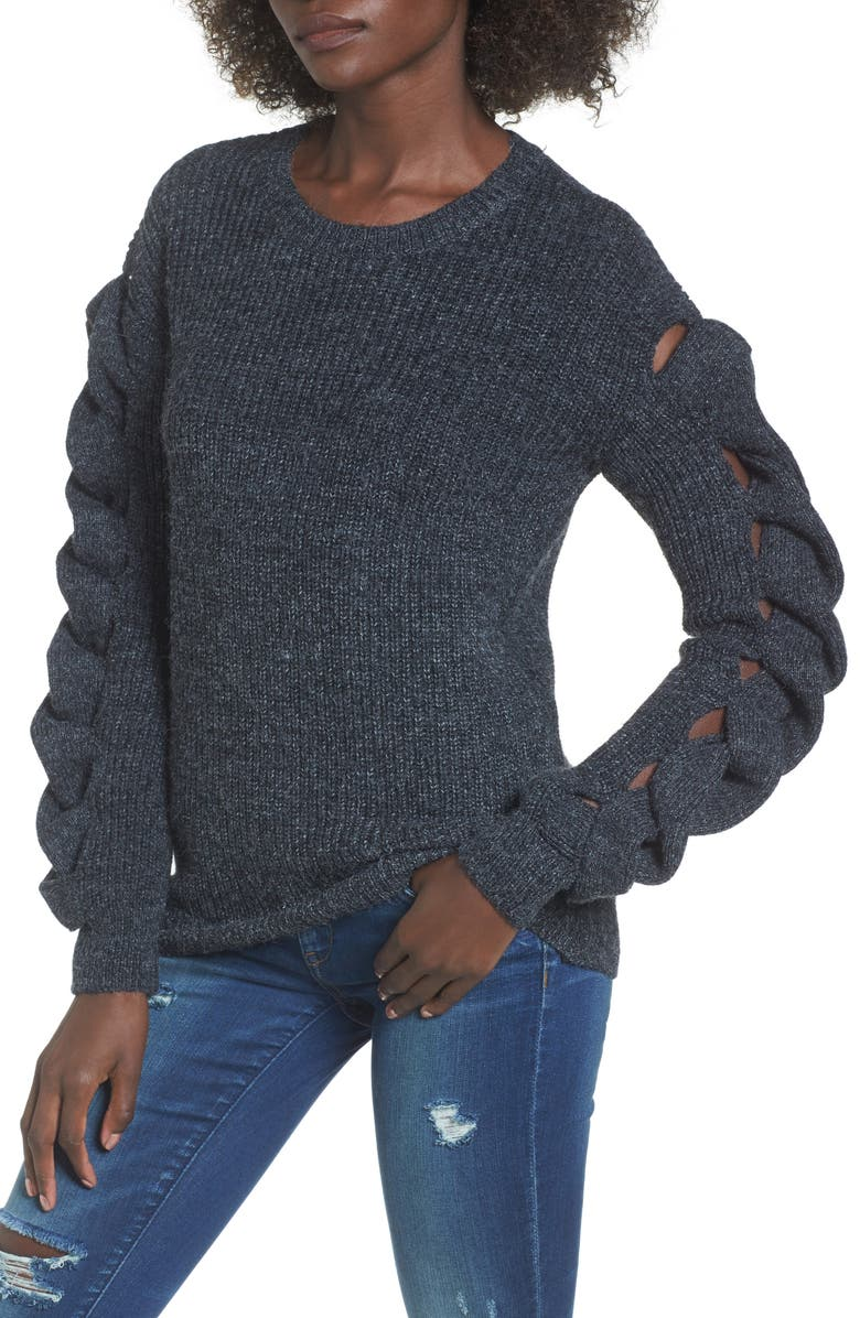 LEITH Twist Sleeve Sweater, Main, color, 030