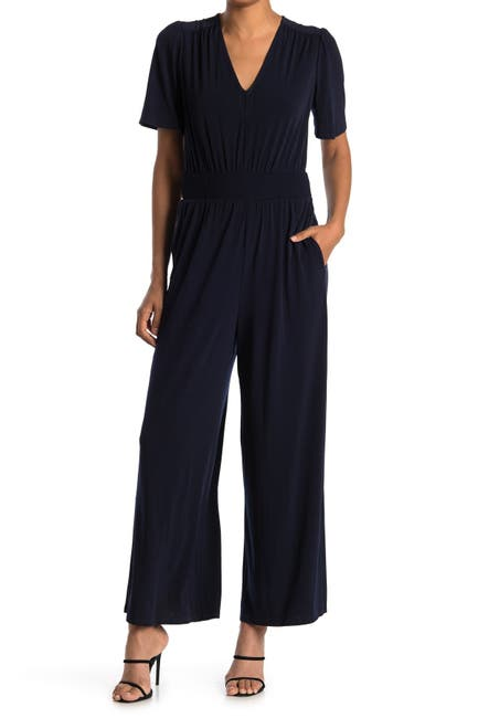 Image of London Times Short Sleeve Solid Jersey Jumpsuit