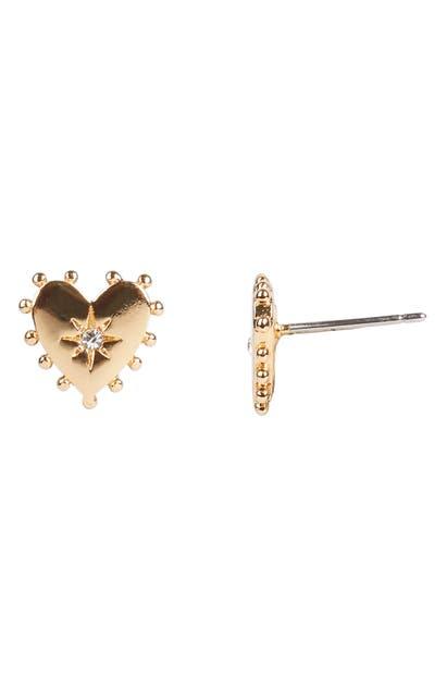 Rebecca Minkoff Heart Stud Earrings In Gold/dk Blue