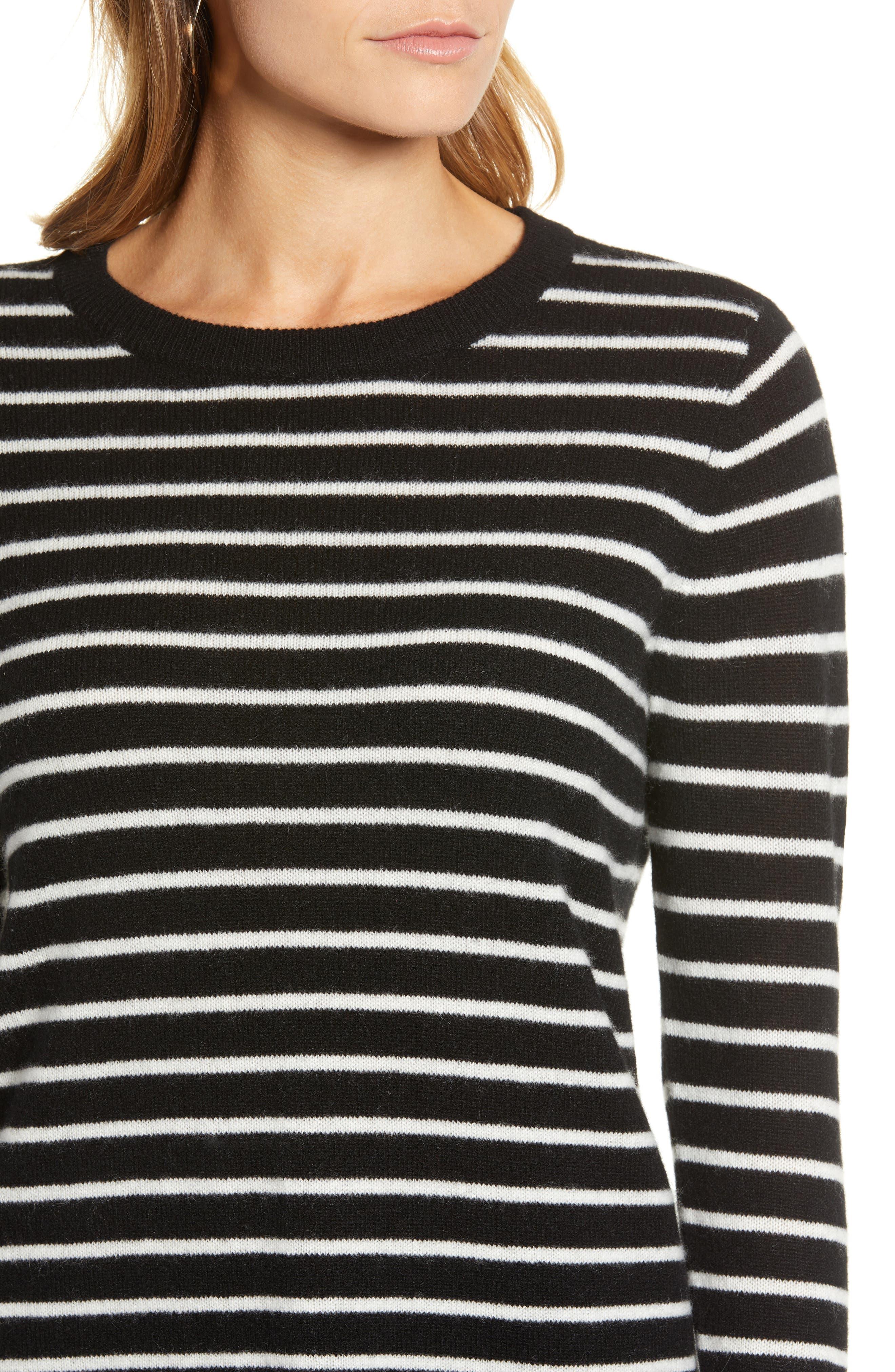 ,                             Crewneck Cashmere Sweater,                             Alternate thumbnail 4, color,                             002