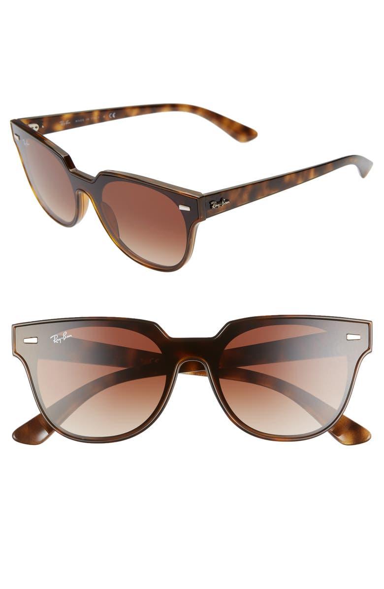 RAY-BAN Blaze Meteor 145mm Gradient Shield Sunglasses, Main, color, HAVANA/ BROWN SOLID