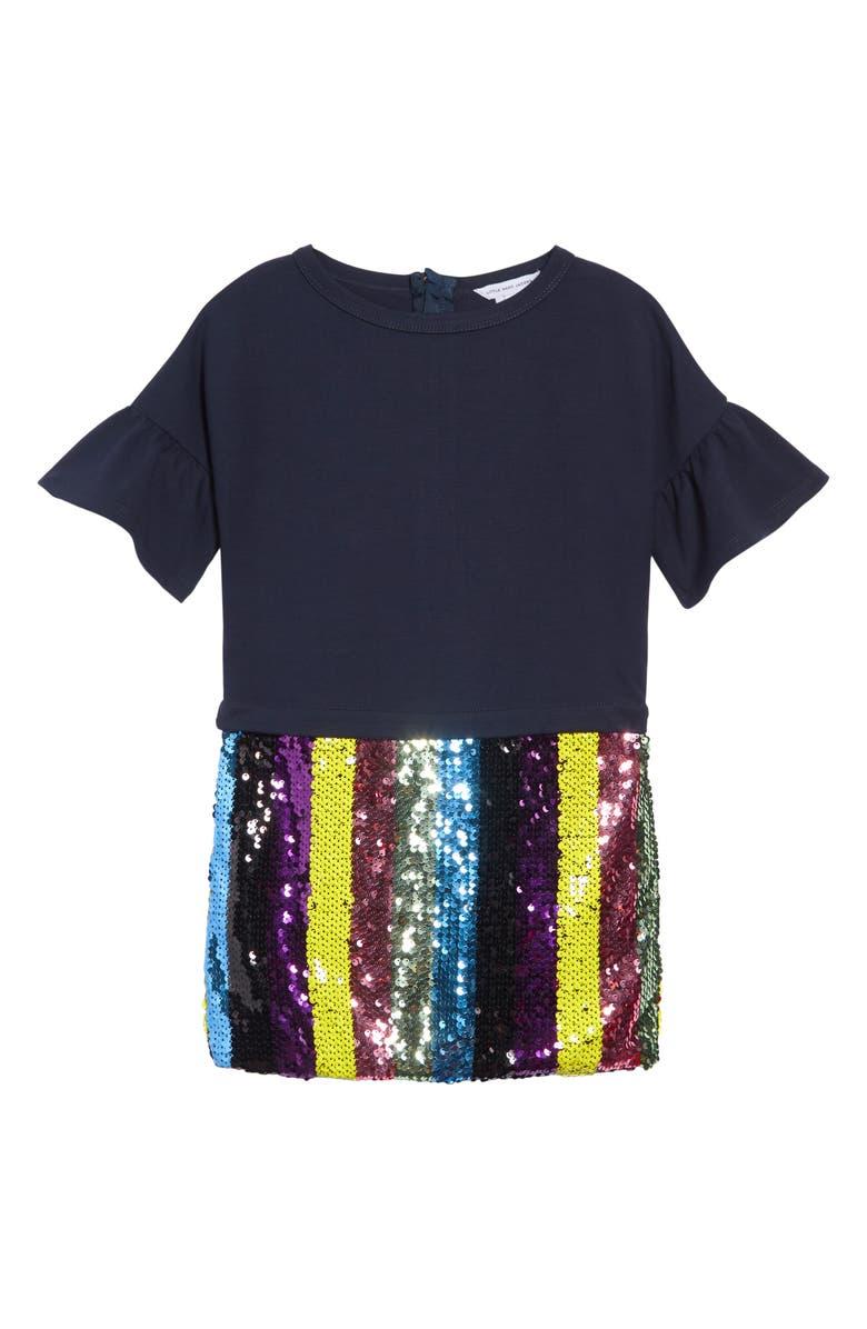 LITTLE MARC JACOBS Sequin Dress, Main, color, 410