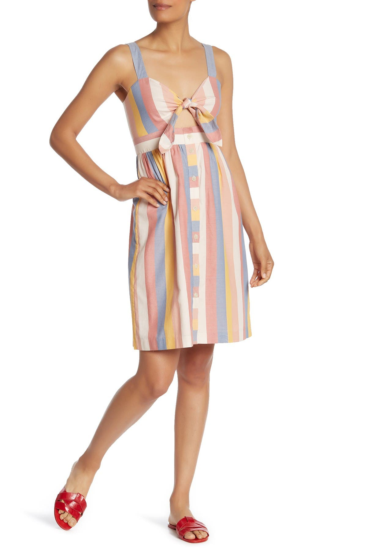 Image of Madewell Striped Tie Front Button Down Midi Dress