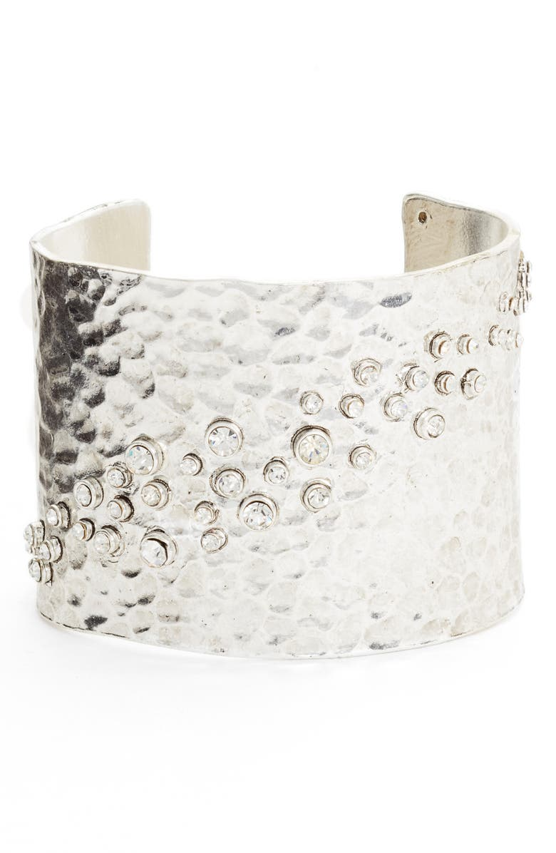 KARINE SULTAN Lou Embellished Cuff, Main, color, SILVER
