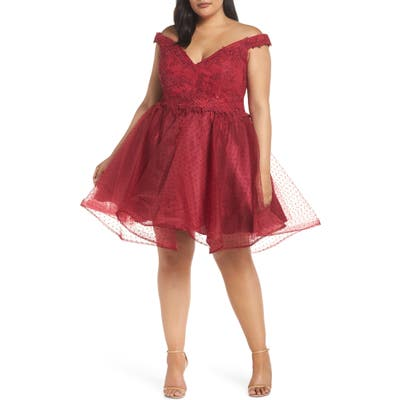 Plus Size MAC Duggal Off The Shoulder Swiss Dot Party Dress, Burgundy