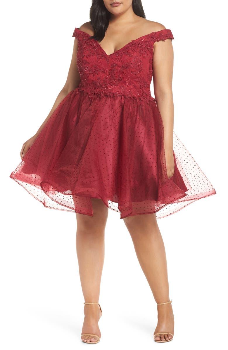 MAC DUGGAL Off the Shoulder Swiss Dot Party Dress, Main, color, BURGUNDY