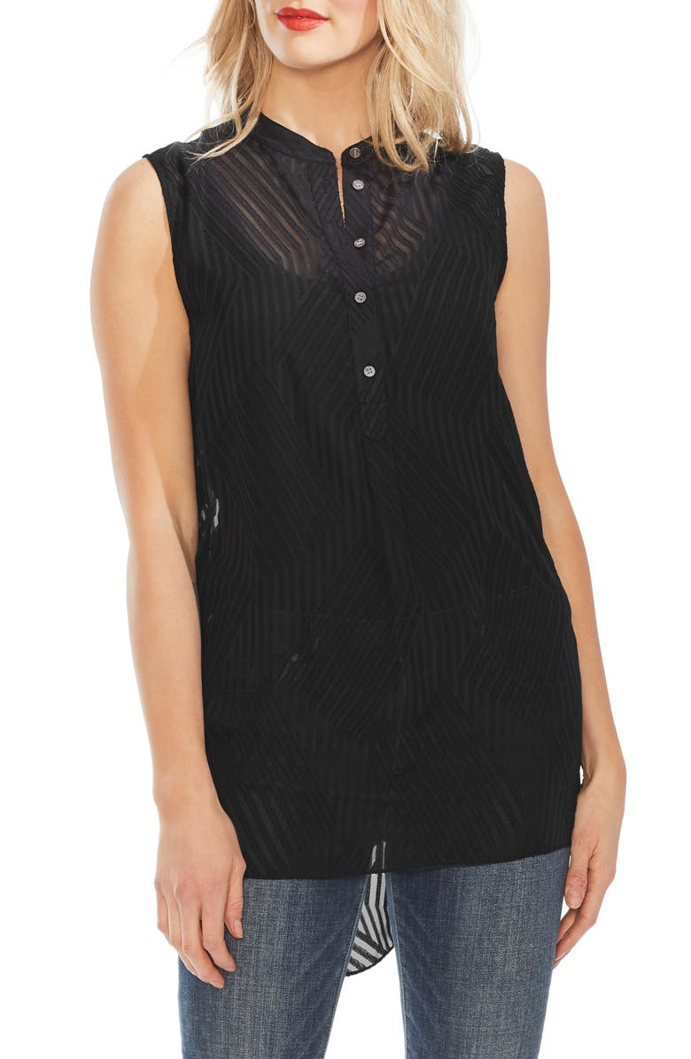 Stripe Block Sleeveless Henley Tunic by Vince Camuto