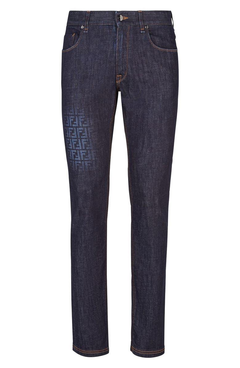 FENDI Faded FF Jeans, Main, color, DARK BLUE