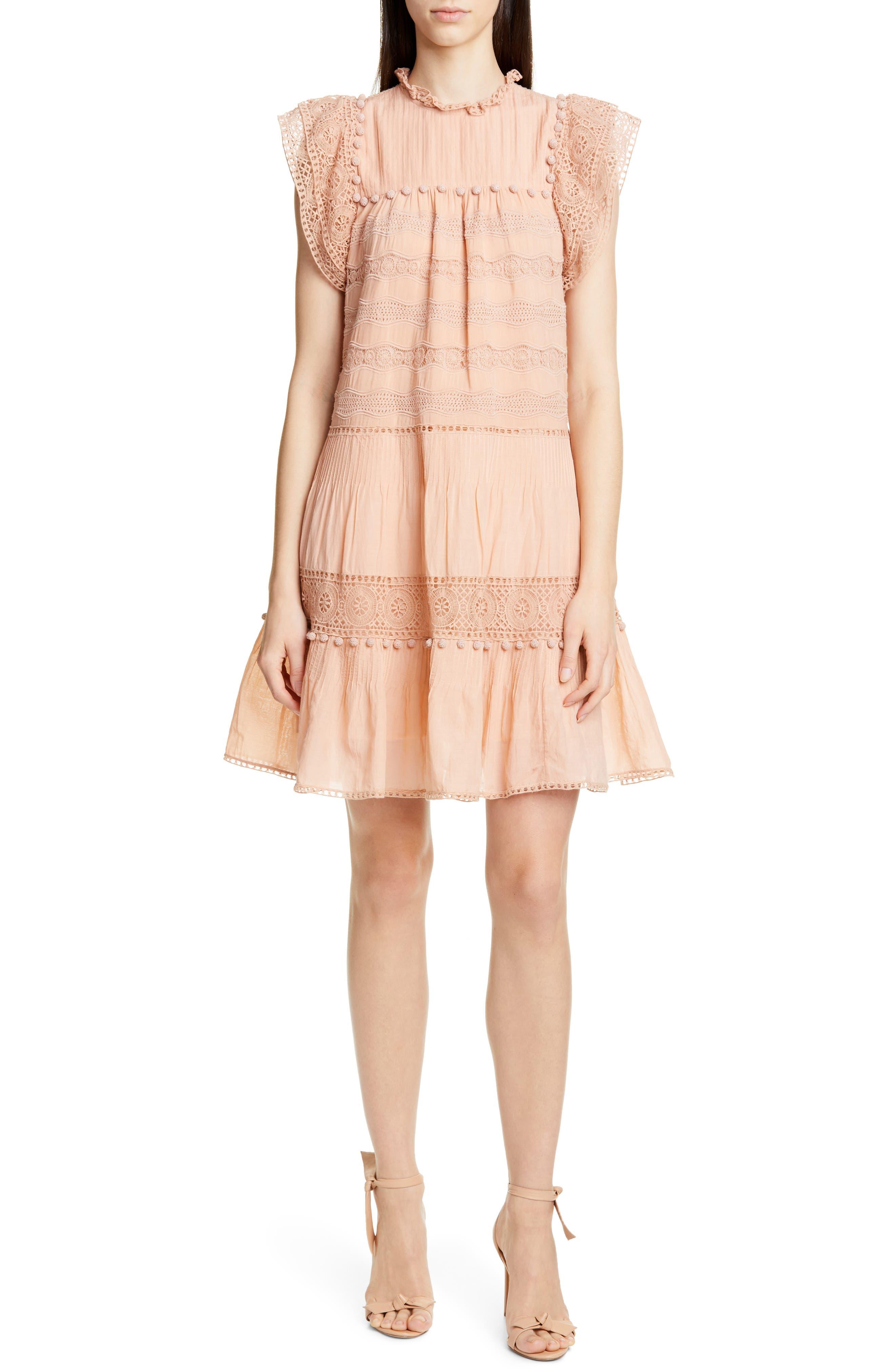 Ulla Johnson Nora Crochet Trim Trapeze Dress, Pink