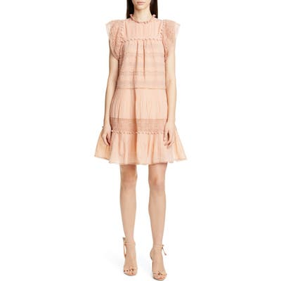 Ulla Johnson Nora Crochet Trim Trapeze Dress, Pink
