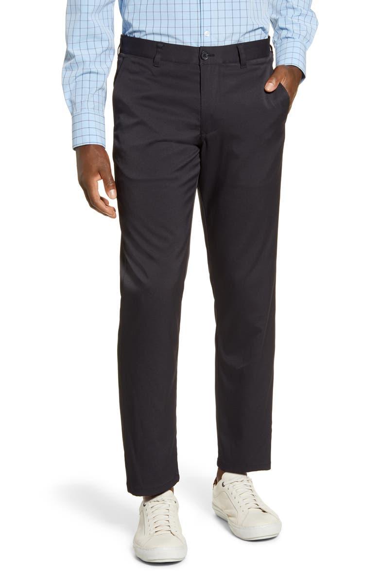 MIZZEN+MAIN Baron Trim Fit Performance Chino Pants, Main, color, BLACK SOLID