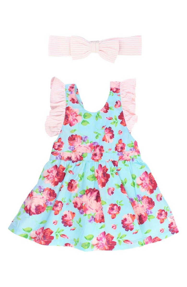 RuffleButts Life Is Rosy Dress Head Wrap Set Baby