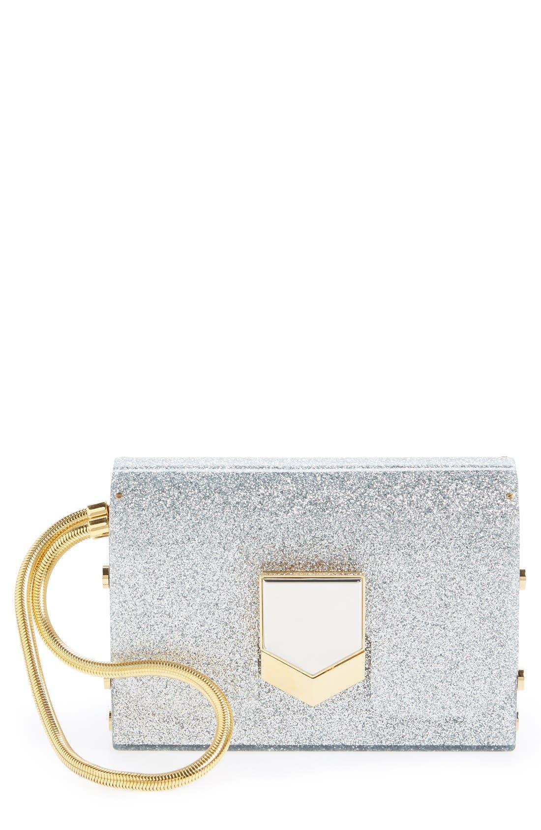 'Lockett Minaudière' Glitter Clutch, Main, color, 040