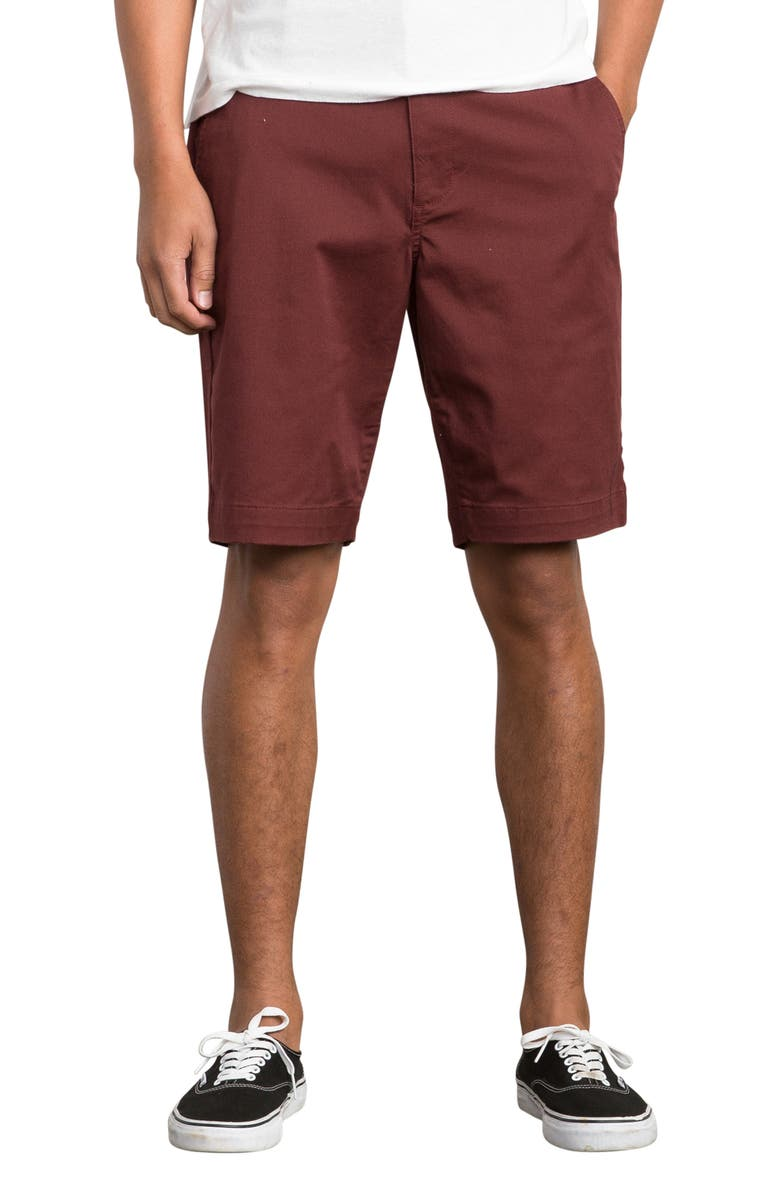 RVCA The Week-End Stretch Twill Chino Shorts, Main, color, BORDEAUX