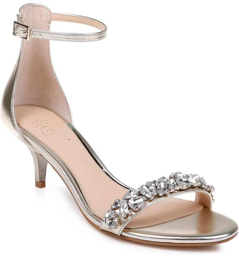 JEWEL BADGLEY MISCHKA Dash Embellished Halo Strap Sandal, Main, color, LIGHT GOLD NAPPA