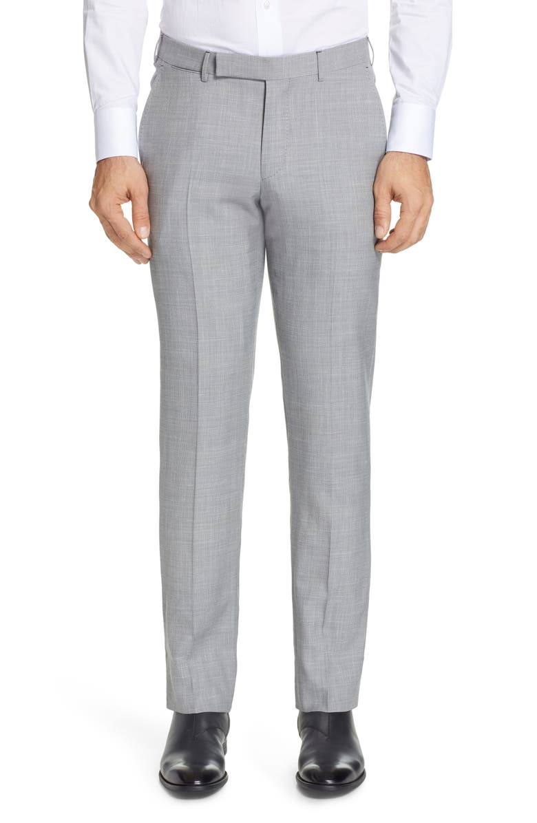 ERMENEGILDO ZEGNA Trofeo Flat Front Solid Wool Blend Dress Pants, Main, color, 022
