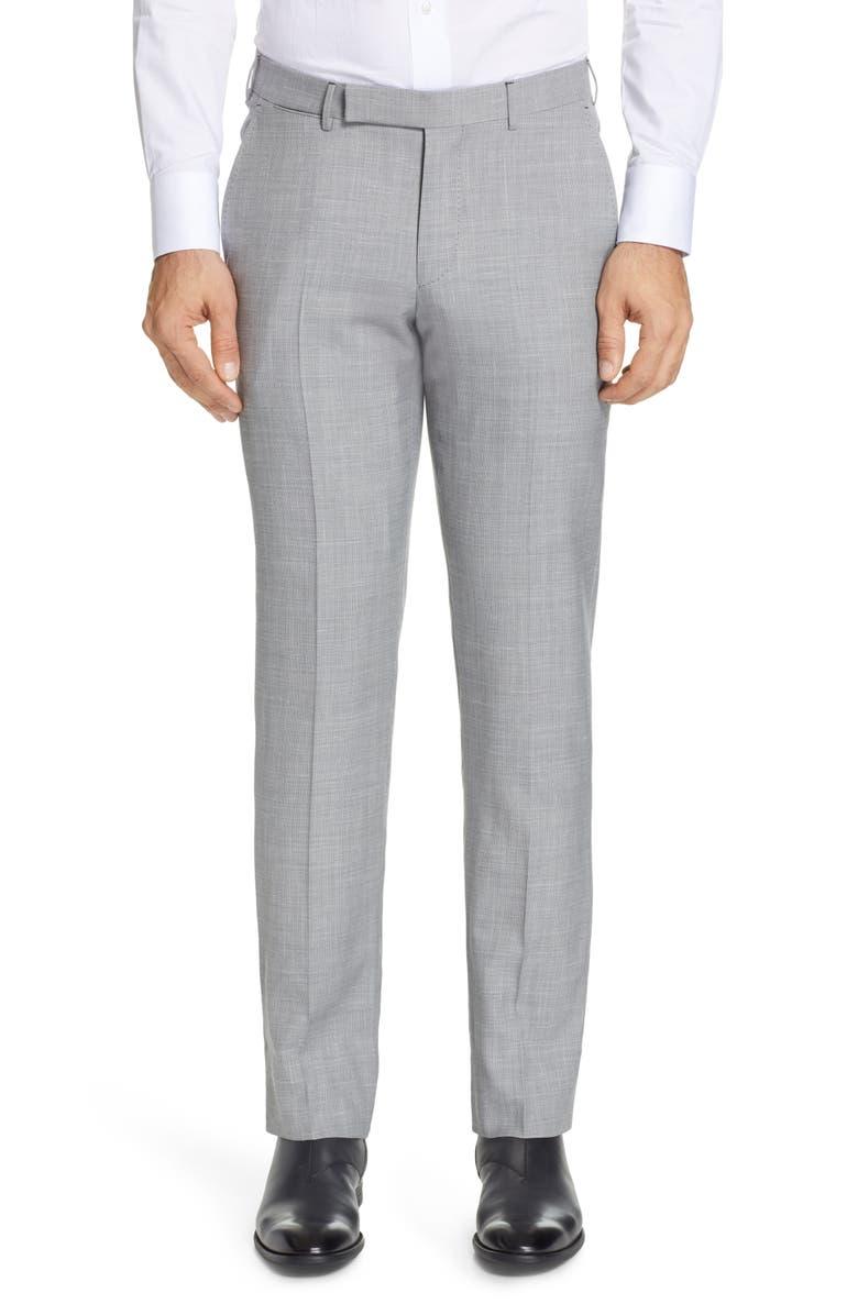 ERMENEGILDO ZEGNA Trofeo Flat Front Solid Wool Blend Dress Pants, Main, color, LIGHT GREY