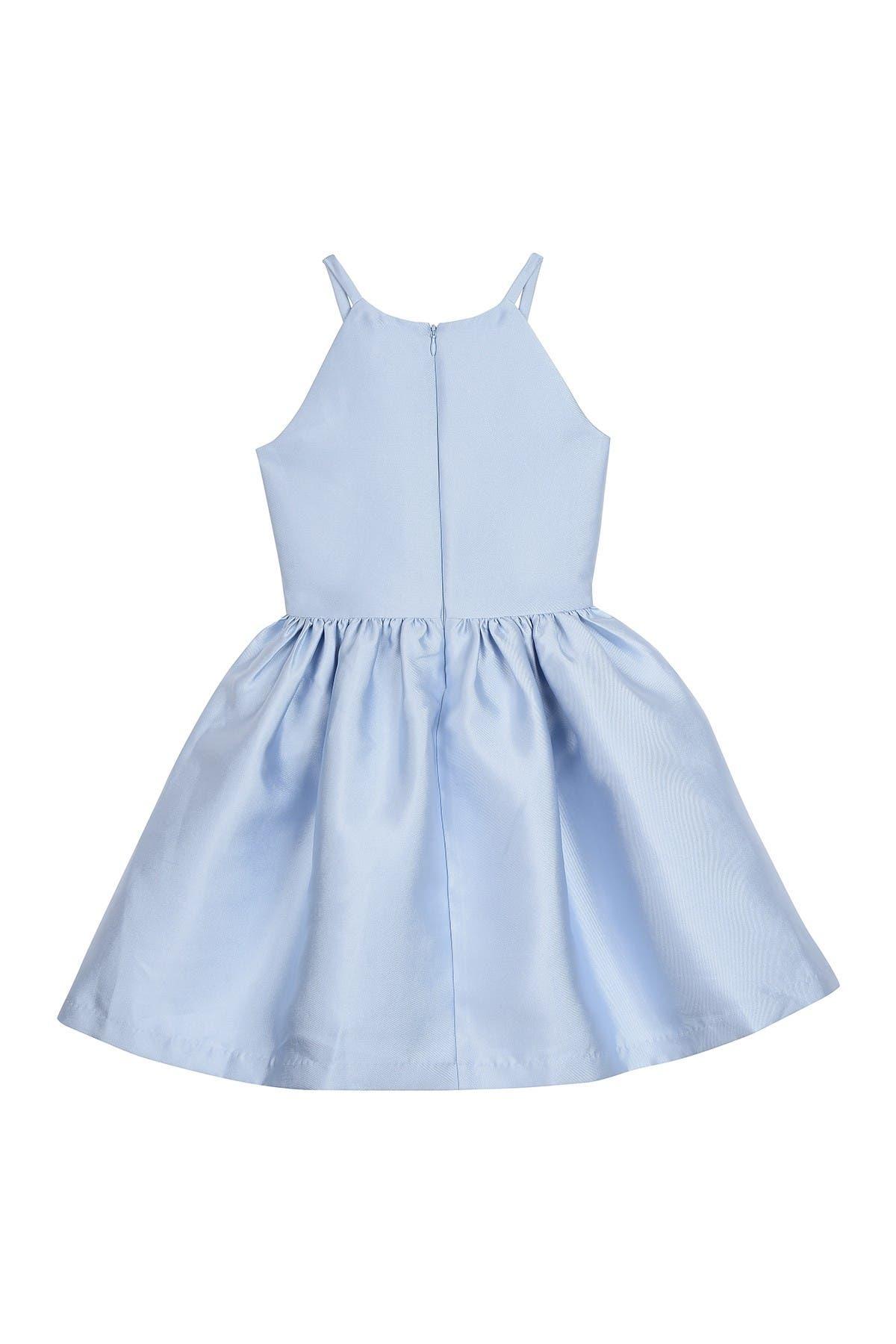Image of Badgley Mischka Lace Panel Square Neck Sleeveless Dress