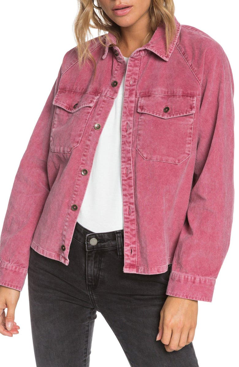 ROXY Be Right There Corduroy Shirt Jacket, Main, color, RHUBARB