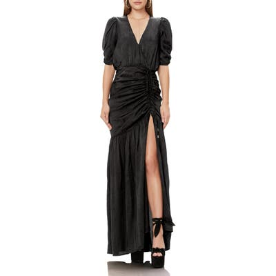 Afrm Nile Ruched Maxi Dress, Black