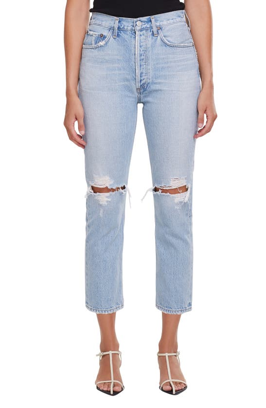Agolde RILEY RIPPED CROP NONSTRETCH STRAIGHT LEG JEANS