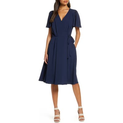 Gal Meets Glam Collection Kinsley Flutter Sleeve Wrap Dress, Blue