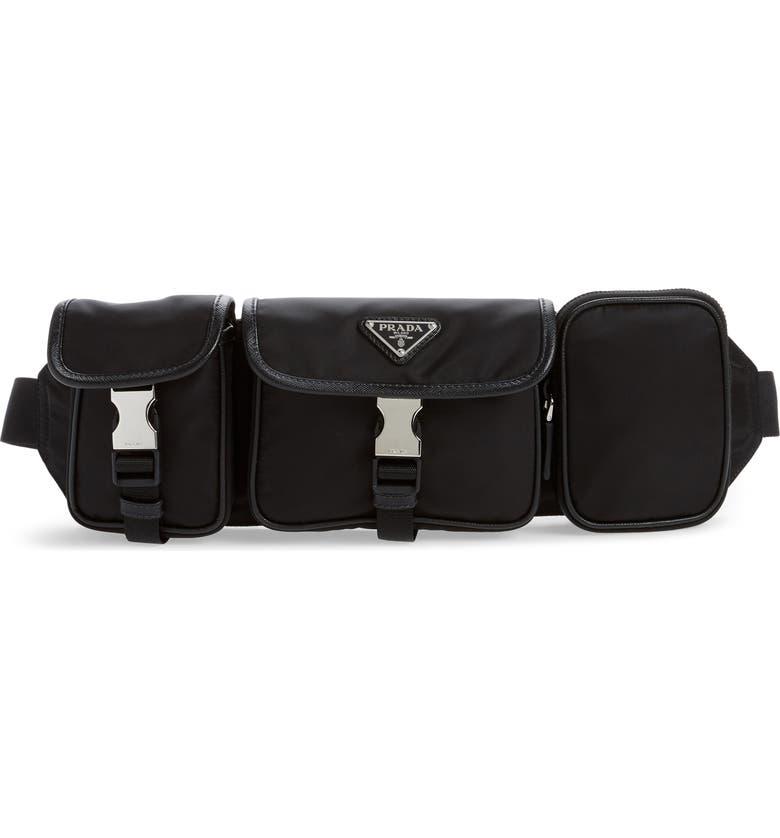 PRADA Tessuto Belt Bag, Main, color, NERO